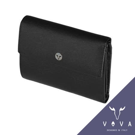 VOVA 自由系列14卡透明窗拉鍊零錢袋可翻式蜥蜴紋中夾(黑色)VA106W023BK