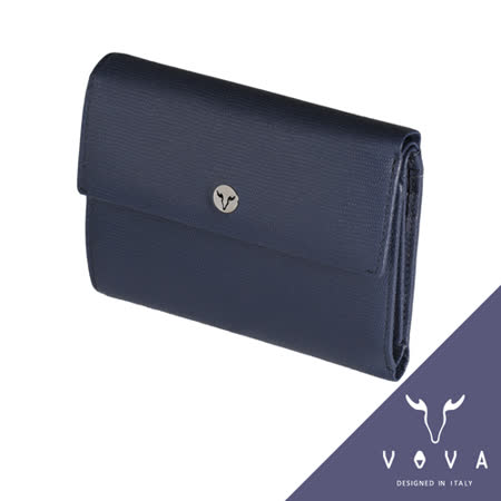 VOVA 自由系列14卡透明窗拉鍊零錢袋可翻式蜥蜴紋中夾(藍色)VA106W023BL