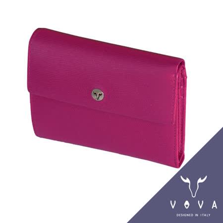 VOVA 自由系列14卡透明窗拉鍊零錢袋可翻式蜥蜴紋中夾(桃紅色)VA106W023FU