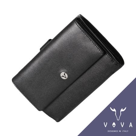 VOVA 自由系列9卡透明窗拉鍊零錢袋蜥蜴紋舌片中夾(黑色)VA106W025BK