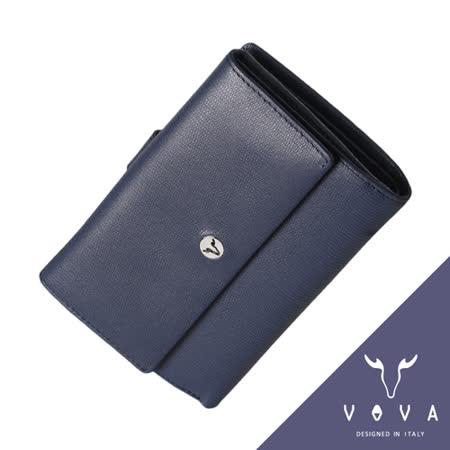 VOVA 自由系列9卡透明窗拉鍊零錢袋蜥蜴紋舌片中夾(藍色)VA106W025BL