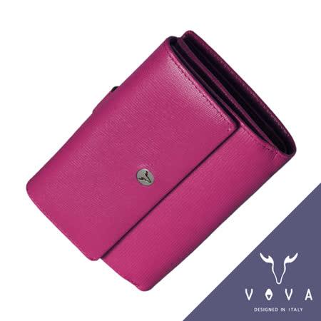 VOVA 自由系列9卡透明窗拉鍊零錢袋蜥蜴紋舌片中夾(桃紅色)VA106W025FU