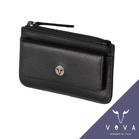 VOVA 自由系列蜥蜴紋拉鍊零錢包(黑色)VA106W028BK