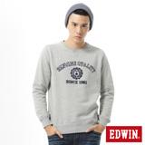 EDWIN 網路限定 植絨印章厚絨T恤-男-麻灰色