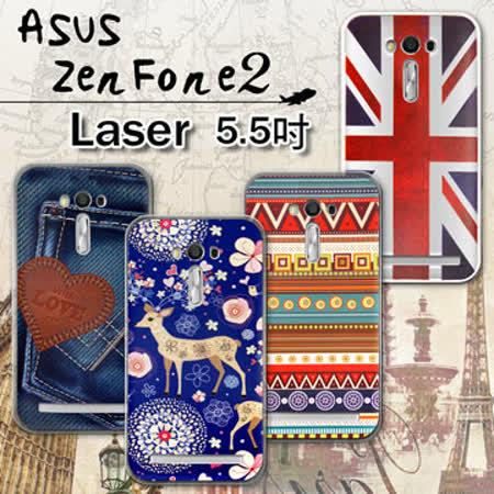 VXTRA ASUS ZenFone 2 Laser 5.5吋 ZE550KL 率性風格 彩繪軟式保護殼 手機殼