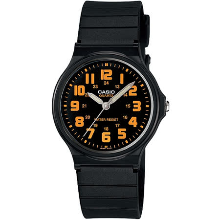 CASIO 時尚玩色輕薄魅力腕錶(MQ-71-4B)-黑x橘