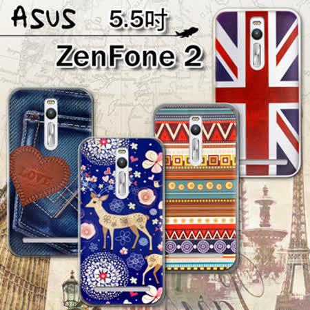 VXTRA ASUS ZenFone 2 5.5吋 ZE551ML率性風格 彩繪軟式保護殼 手機殼