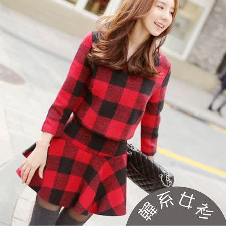 【韓系女衫】冬季混羊毛呢絨綿質紅格紋二件式套裝
