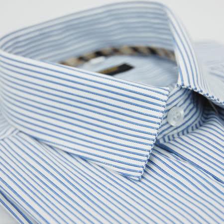 【金安德森】經典格紋繞領藍條紋長袖襯衫