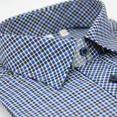 【金安德森】黑藍格紋窄版長袖襯衫