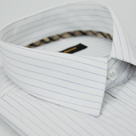 【金安德森】經典格紋繞領白底藍條紋長袖襯衫
