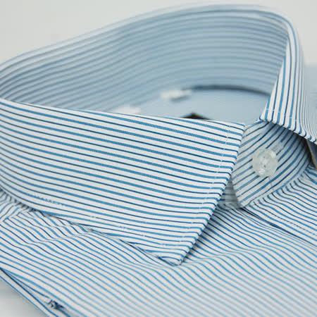 【金安德森】藍色粗細條紋窄版長袖襯衫