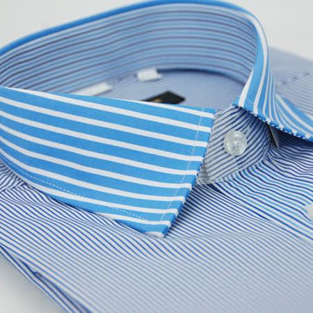 【金安德森】藍色粗細條紋變化領窄版長袖襯衫