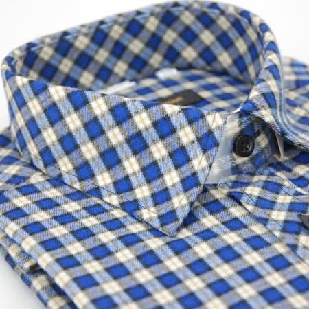 【金安德森】藍色格紋保暖窄版長袖襯衫