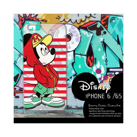 迪士尼授權正版 iPhone6 / 6s i6s 4.7吋 街頭系列透明軟式手機殼(帽T米奇)