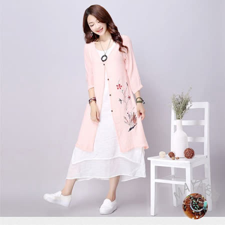 【Maya 名媛】(L~3XL)四季皆宜百搭古典單扣加長版型外套/罩衫-粉色