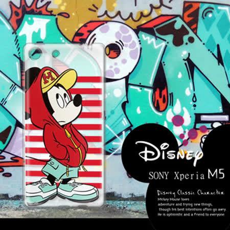 迪士尼授權正版 SONY Xperia M5 E5653 水水機 街頭系列透明軟式手機殼(帽T米奇)