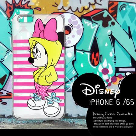 迪士尼授權正版 iPhone6 / 6s i6s 4.7吋 街頭系列透明軟式手機殼(帽T米妮)