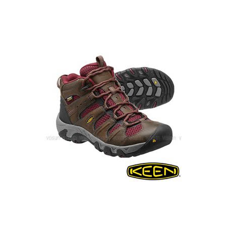 【美國 Keen】女新款 KOVEN MID WP 專業中筒防水透氣登山健行鞋(寬楦護趾)郊山鞋.溯溪.健走_深灰/暗紅 1013187