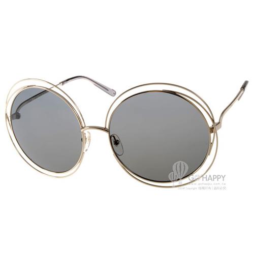 CHLOE太陽眼鏡 金屬大圓框(金-灰) #CL114S 731