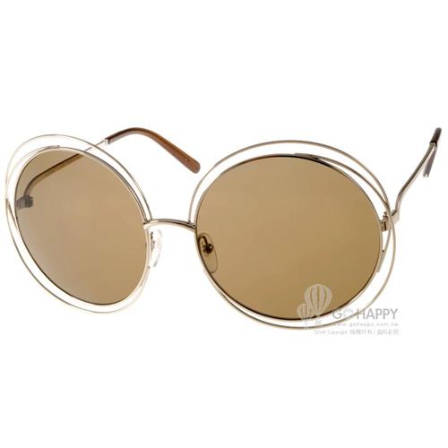 CHLOE太陽眼鏡 金屬大圓框(金-棕) #CL114S 743
