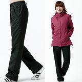 【遊遍天下】中性款顯瘦直筒防風防潑水透氣禦寒刷毛保暖褲/ 防風雪褲P104黑色