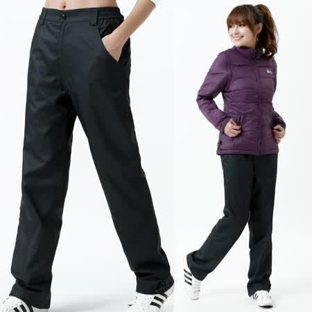 【遊遍天下】中性款顯瘦直筒防風防潑水透氣禦寒刷毛保暖褲/ 防風雪褲P104深藍