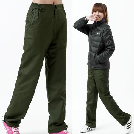 【遊遍天下】中性款顯瘦直筒防風防潑水透氣禦寒刷毛保暖褲/ 防風雪褲P104墨綠