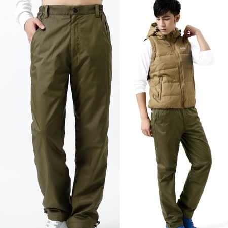 【遊遍天下】中性款顯瘦直筒防風防潑水透氣禦寒刷毛保暖褲/ 防風雪褲P104橄綠