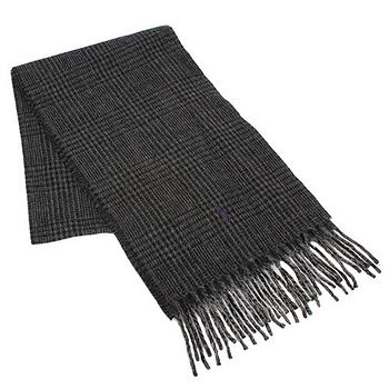 RALPH LAUREN POLO  小馬LOGO格紋羊毛圍巾-黑色