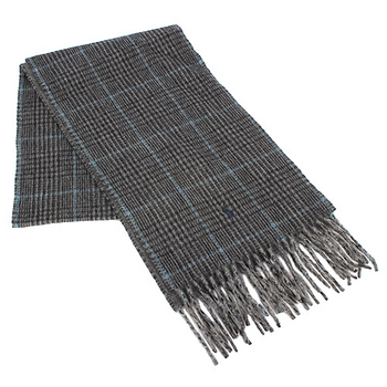 RALPH LAUREN POLO  小馬LOGO格紋羊毛圍巾-灰色
