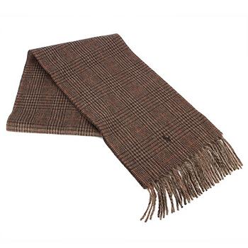 RALPH LAUREN POLO 新款小馬LOGO格紋羊毛圍巾-棕色