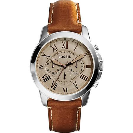 FOSSIL Grant 旗艦三眼計時復刻腕錶-灰x棕/44mm FS5118