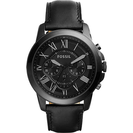 FOSSIL Grant 旗艦三眼計時復刻腕錶-黑/44mm FS5132