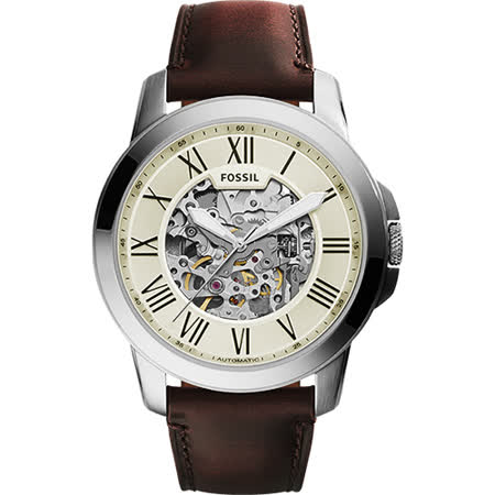 FOSSIL Grant Automatic 雅仕鏤空機械錶-淡金x咖啡/44mm ME3099