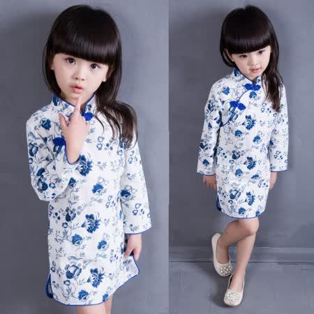 【秋冬新款】花朵中國風((藍色))氣質長袖洋裝