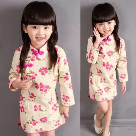 【秋冬新款】花朵中國風((粉色))氣質長袖洋裝