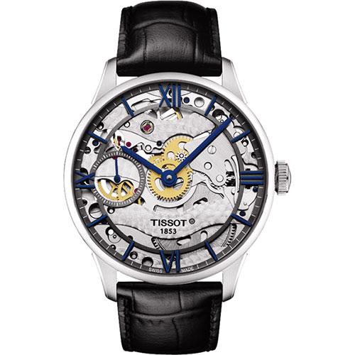 TISSOT T-Classic 羅馬精湛鏤空手動上鍊腕錶-銀x黑-42mm T0994051641800