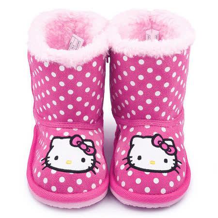童鞋城堡-Hello Kitty 中童 點點風保暖雪靴715141-桃紅