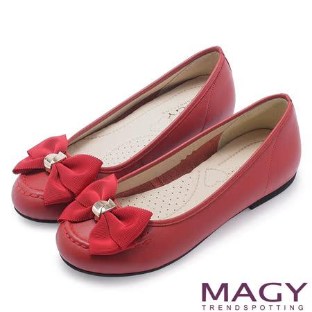 MAGY 甜美可愛系 織帶蝴蝶結牛皮平底娃娃鞋-紅色
