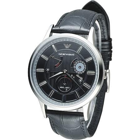 ARMANI 時空旅行自動機械男錶(AR4659)-黑