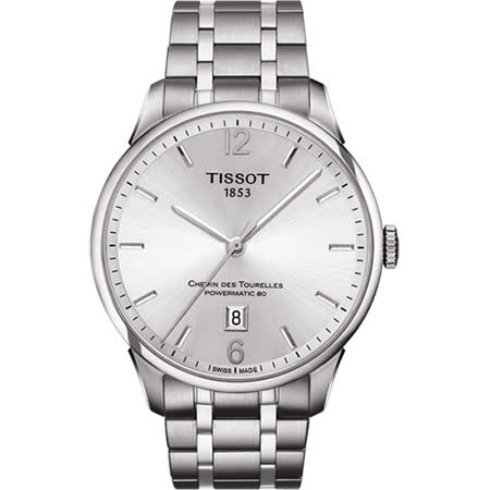 TISSOT 杜魯爾系列機械動力80腕錶-銀/42mm T0994071103700