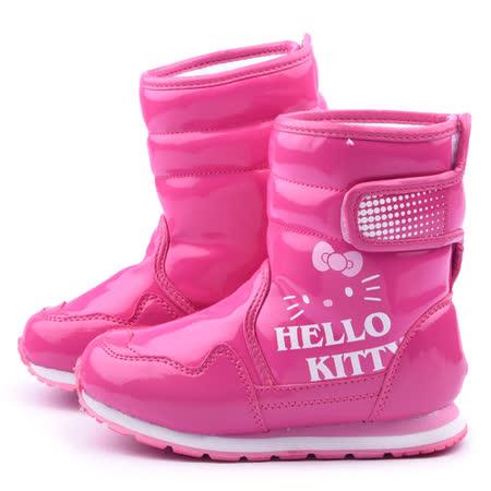 童鞋城堡-Hello Kitty 中大童 超輕量防潑水簡約中筒靴715172-桃紅