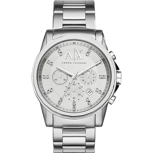 A│X Armani Exchange 探險家三眼計時腕錶-銀/44mm AX2505