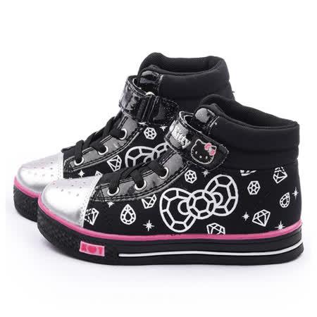 童鞋城堡-Hello Kitty 中大童 酷黑水鑽中筒帆布鞋715170-黑