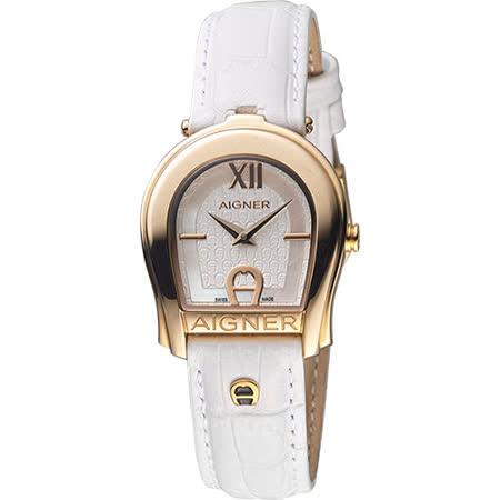 AIGNER Andria 愛格納馬蹄造型仕女錶-玫瑰金框x白/29mm A24225A