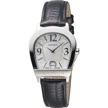 AIGNER Amalfi 愛格納馬蹄造型仕女錶-珍珠貝x黑/30mm A32268B