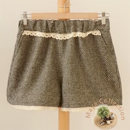 【Maya Collection森林系】冬季呢絨格料綿花邊俏麗短褲-黑色