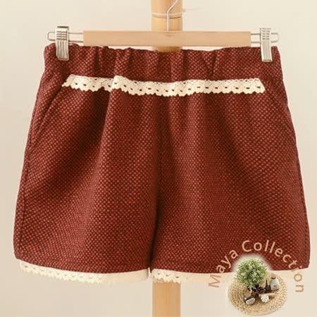 【Maya Collection森林系】冬季呢絨格料綿花邊俏麗短褲-紅色