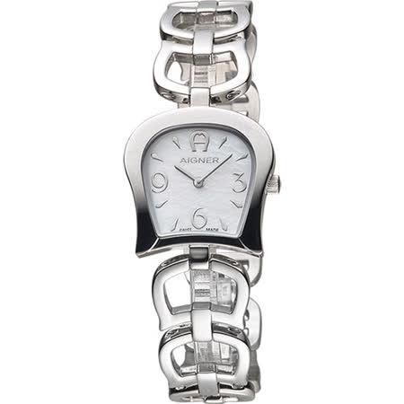 AIGNER Casoria 愛格納馬蹄造型手鍊錶-珍珠貝x銀/24mm A46605